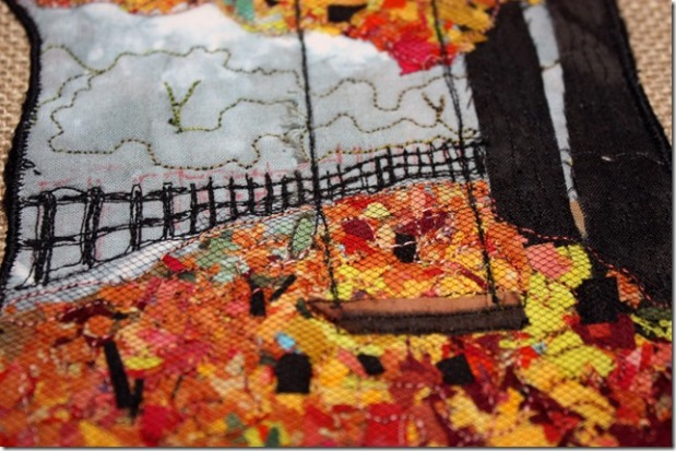 Autumn Trees with Fence Mini Quilt Wall Hanging