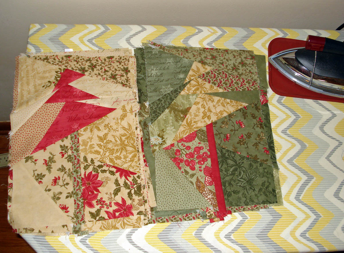 Folded fabric christmas tree - I M Making Progress On My Crazy Christmas Tree Quilt See Last Post The Green Background Pile Done Beige Background Pile Done Red Background Pile Yet To
