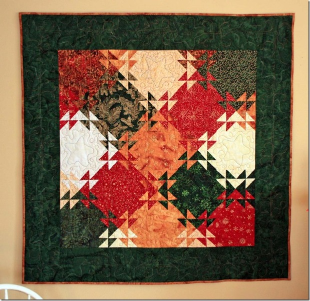 Shimmering Winter Stars Quilted WallHanging