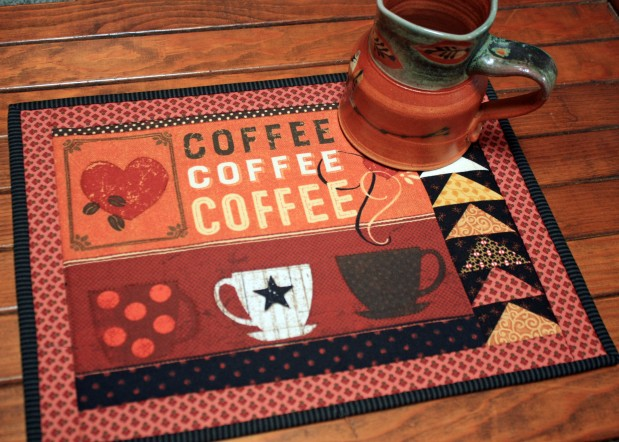 Chocolate Coffee Quilted Mug Rug PQ 10.6