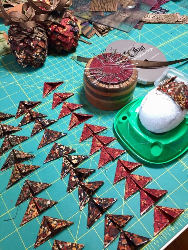 Making Folded Fabric Pine Cone Ornaments